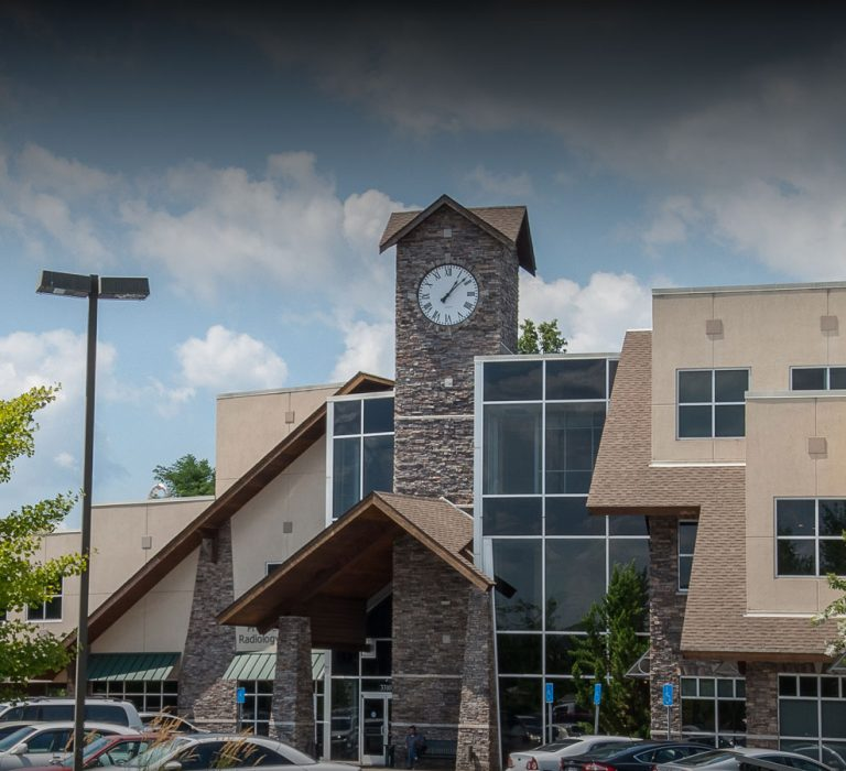 Close Up View of Exterior Clock Tower on Aspen Brook Medical Center, Designed By The Innovations Group