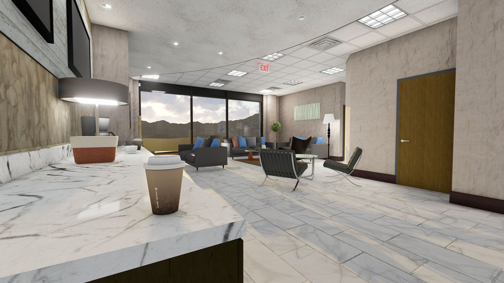 Computer Rendering of Cool Springs, TN Plastic Surgery Center Coffee and Lounge Area
