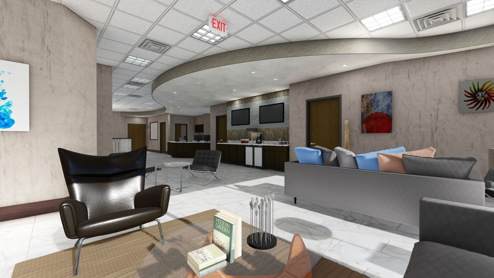 Computer Rendering of Cool Springs, TN Plastic Surgery Center Lounge Area