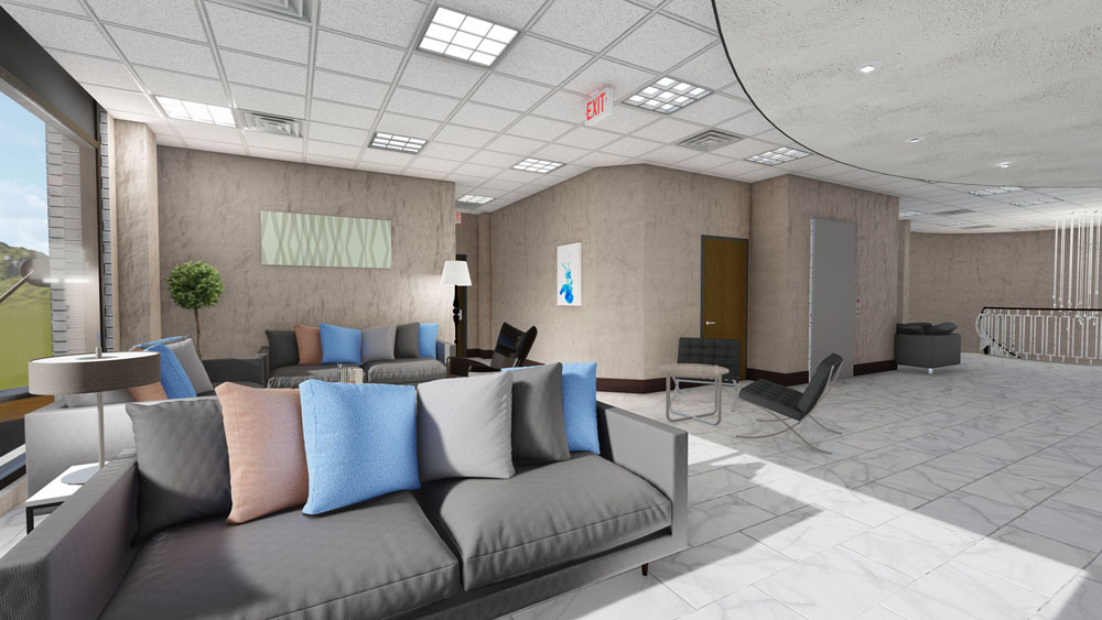 Gray Couches with Pastel Pink and Blue Pillows in Cool Springs, TN Plastic Surgery Center Lobby