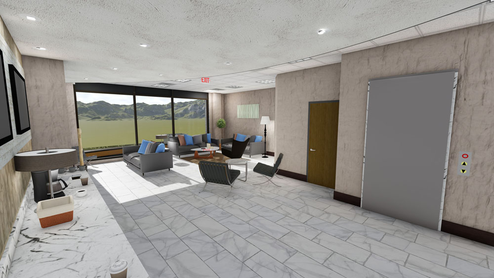 Modern Gray Marble Lounge Area in Cool Springs Plastic Surgery Center