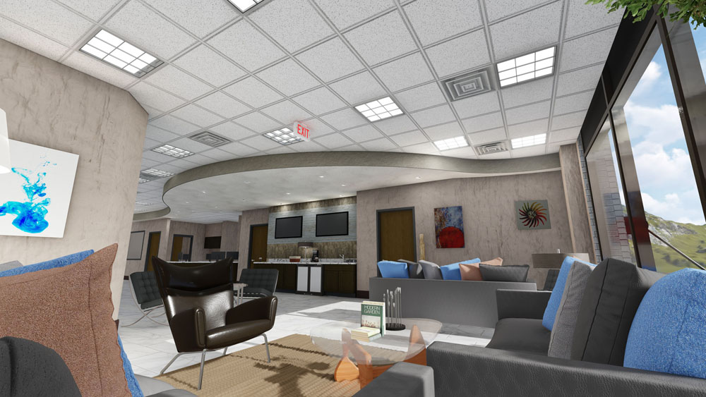 Modern Artwork, Couches, and Coffee Station at Cool Springs Plastic Surgery Center