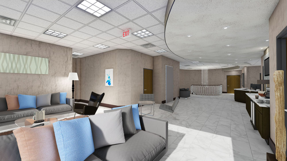 Alternative View of Modern Waiting Area with Couches and Lounge Chairs at Cool Springs Plastic Surgery Center