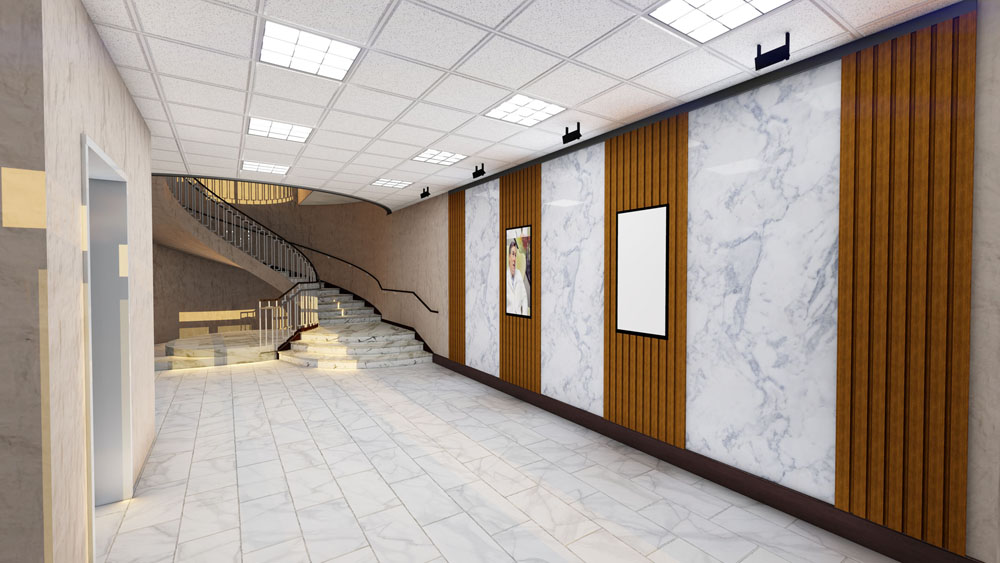 White Marble and Light Wood First Floor Lobby of Commercial Development by The Innovations Group