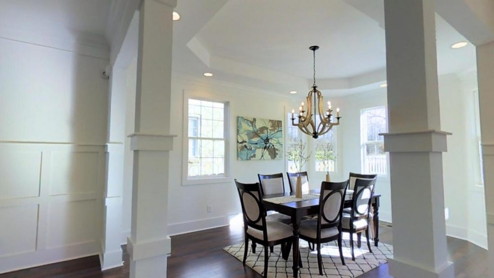 Modern White and Beige Dining Room in 3520A Hillsdale Ave, Nashville, TN