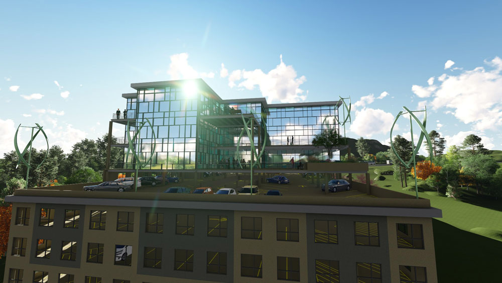 Computer rendering of The Franklin parking lot and side