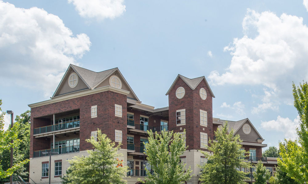 View of Balconies and Top Portion of Aspen Brook Village Mixed Use Development in Franklin, TN