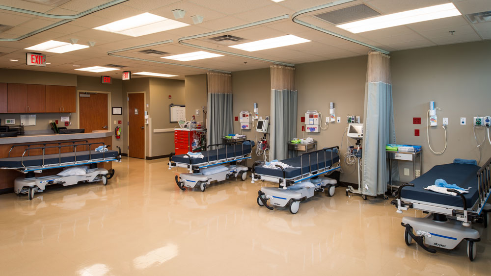 Five Navy Blue Hospital Beds in Surgery Recovery Room, Medical Specialty Building by The Innovations Group