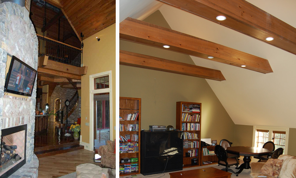 Collage of ceiling and staircase at the Patterson house remodel