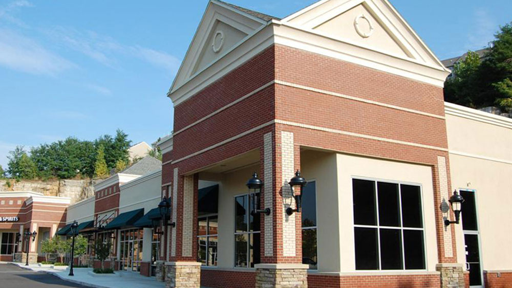 Strip mall stores exterior