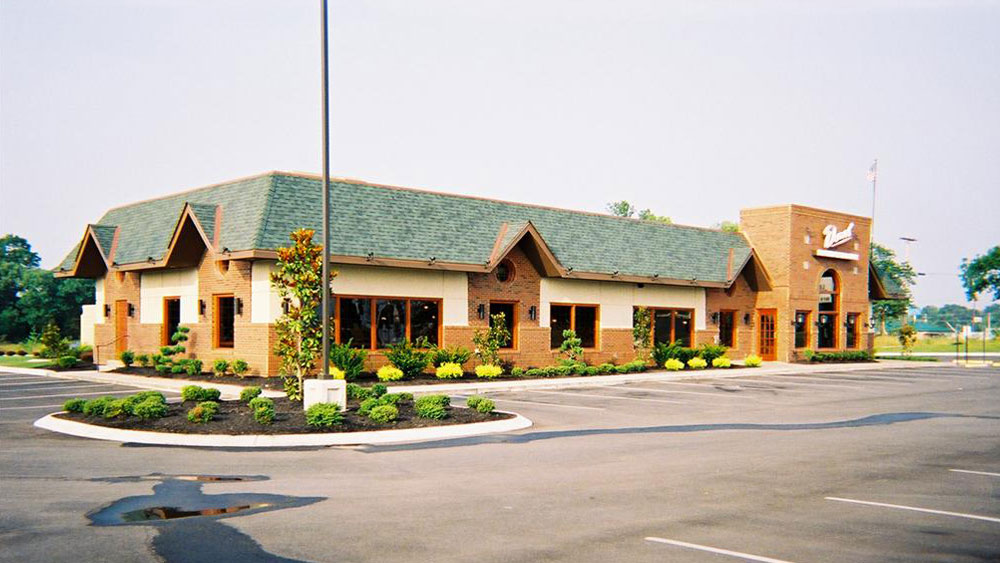 Exterior of restaurant and parking lot