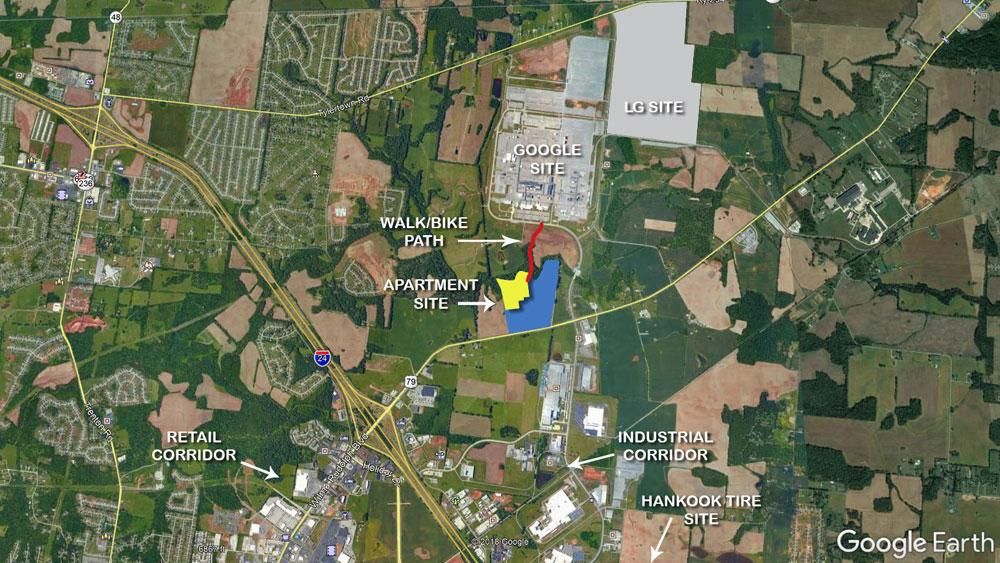 Google Earth view of LG site, Google site, retain corridor, industrial corridor, and Hankook Tire site